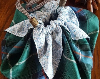 Outlandish Large Pouch Purse in MacDonald of the Isles Tartan with Liberty Print Lining