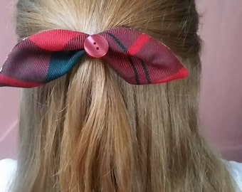 "Dunbar tartan and Liberty Print ""Alice"" Bow, Hair Bow"
