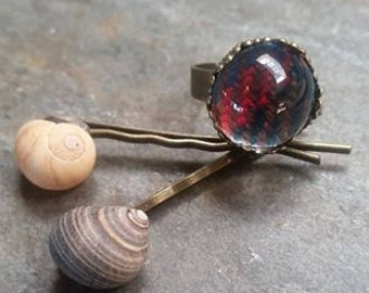 John Muir Way Tartan Ring and Seashell Hairpin Set