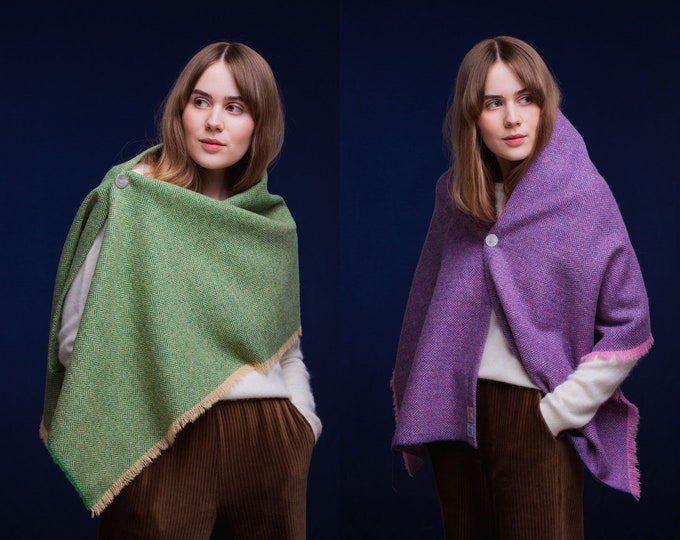 Harris Tweed Fringed Shoulder Wrap