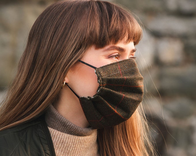 Lovat Tweed and Liberty Print 3-Layer Face Mask