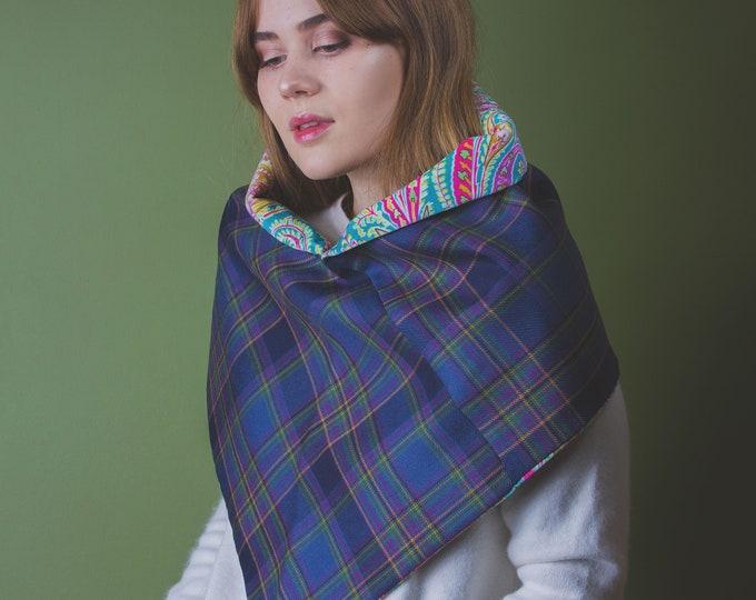 Highland Mist Tartan Drape Cowl with Liberty Print Velvet Lining - Felix Raison