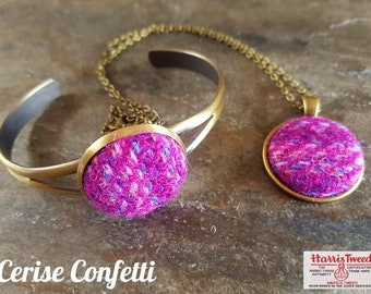Harris Tweed Pendant & Bangle Gift Set (Assorted Colours)