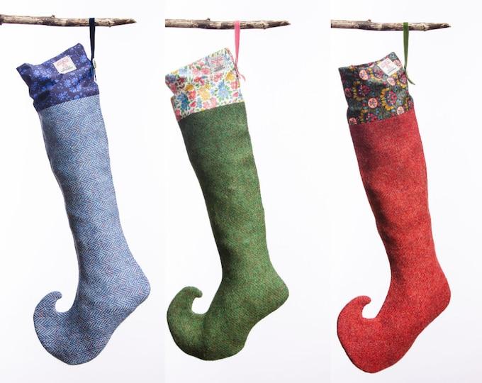 Harris Tweed  & Liberty Print Christmas Stocking