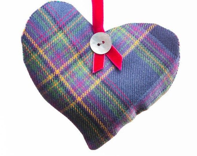 Highland Mist Tartan Scented Herb Hanging Heart