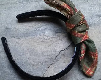 "Flodden Commemorative tartan and Liberty Print ""Alice"" Band, Hair Bow"