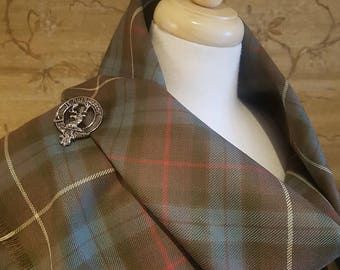 Weathered Hunting Fraser Outlandish Shawl with Optional Clan Fraser Pin Selection *FREE SHIPPING*