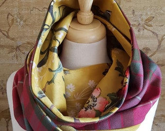 Weathered Red Fraser tartan and  Gold Floral Velvet infinity Scarf