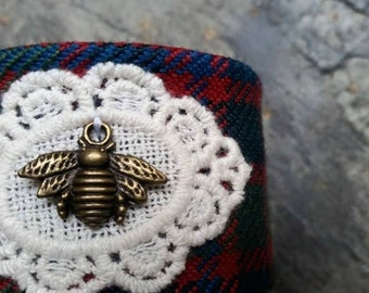 Adjustable Cuff Bangle in John Muir Way Tartan with Bee Charm.