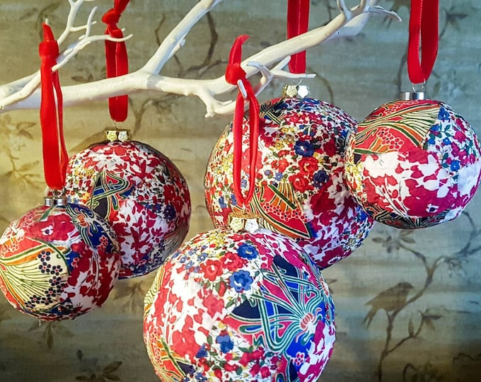 Featured listing image: Liberty Print Patchwork Christmas Bauble Packs