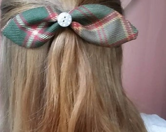 "Flodden Commemorative tartan and Liberty Print ""Alice"" Bow, Hair Bow"