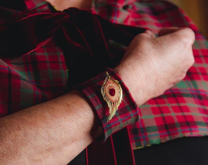 Scottish Tartan Charm Cuff Bracelets