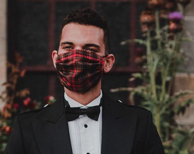 Face Mask -YOUR OWN TARTAN -Scottish Tartan & Liberty Lawn 3-Layer Mask