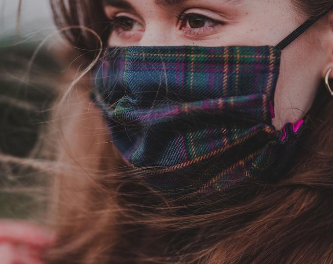 Highland Mist Tartan 3-Layer Face Mask
