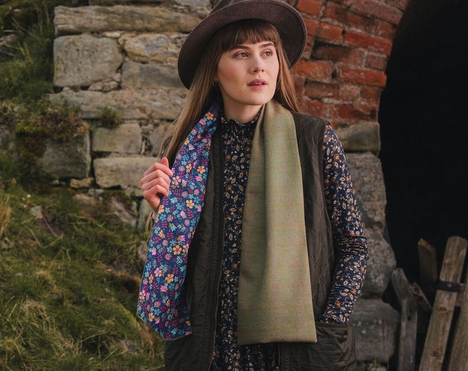Pale Beige Lovat Tweed Liberty Lined Long Scarf *Free Shipping*