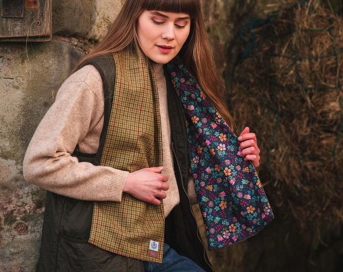 Classic Check Lovat Tweed Liberty Lined Long Scarf *Free Shipping*