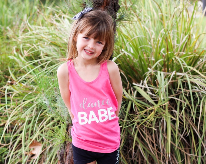 Cute Pink Dance Babe Tank for Girls, Gift from Coach to Dance Team, Ballerina Practice Clothing, Activewear for Girls, Dance Team Photoshoot
