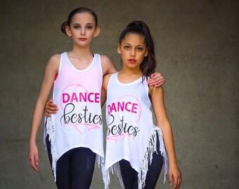 Dance Besties,dancewear,dance,gifts,gifts for her,kids shirts,activewear,kids clothing,dance tank,free shipping,personalized,custom tanks