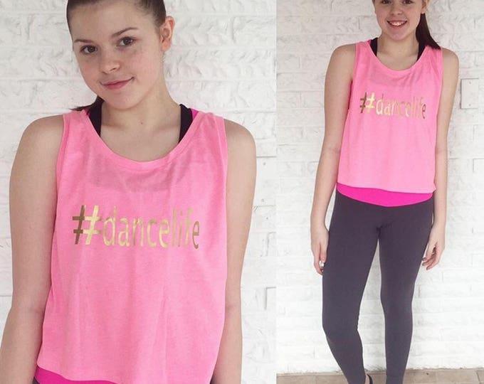Girls dance tank, girls pink dance tank, girls dancewear, dance shirt,hashtag tank, dance gifts, christmas gifts, free shipping