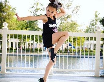 Girls dance tank,dance shirt,dancewear,black tank,girls tank,girls shirt,free shipping,dance gift,recital gift,dance recital,dancer tank