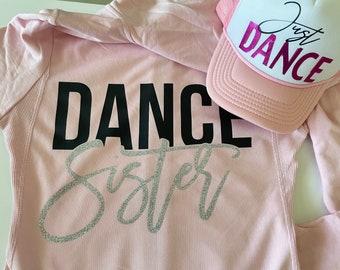 Glitter Dance Sister zip Up Sweatshirt, Custom Kids & Women's Sweatshirt, Custom Dance Zipup,Sweatshirt For Adults ,Dance Zip Up Sweatshirt