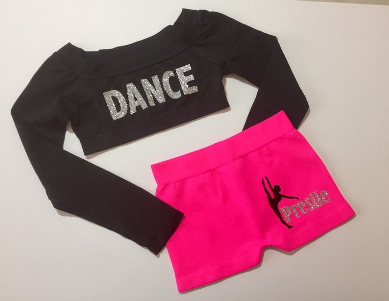 Personalized Glitter Dance Top and  Shorts / Gymnastics Booty image 0