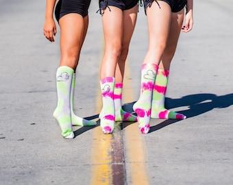 Tie Dye Dance Socks For Girls, Dance Gifts For Girls, Dance Besties Socks, Custom Socks For Dance Team, Dance Costume Socks, Comfy Tie Dye