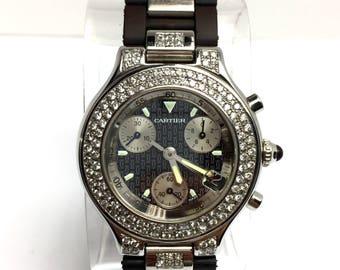 56c6de956eed CARTIER CHRONOSCAPH 21 Steel Unisex Watch F-G VS Diamonds   Rubber Band
