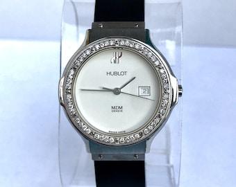 f632fb3a08c HUBLOT Quartz Steel Ladies Watch F-G VS DIAMONDS White Dial Black Rubber  Band