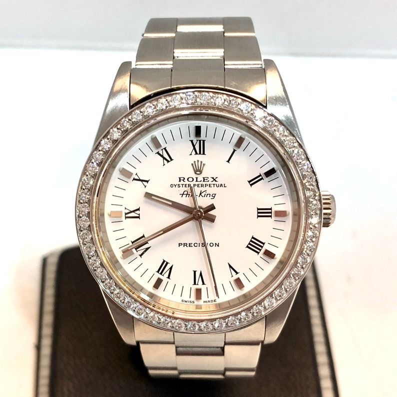 Rolex Oyster Perpetual Air King Precision Steel Men S Unisex Watch Diamond