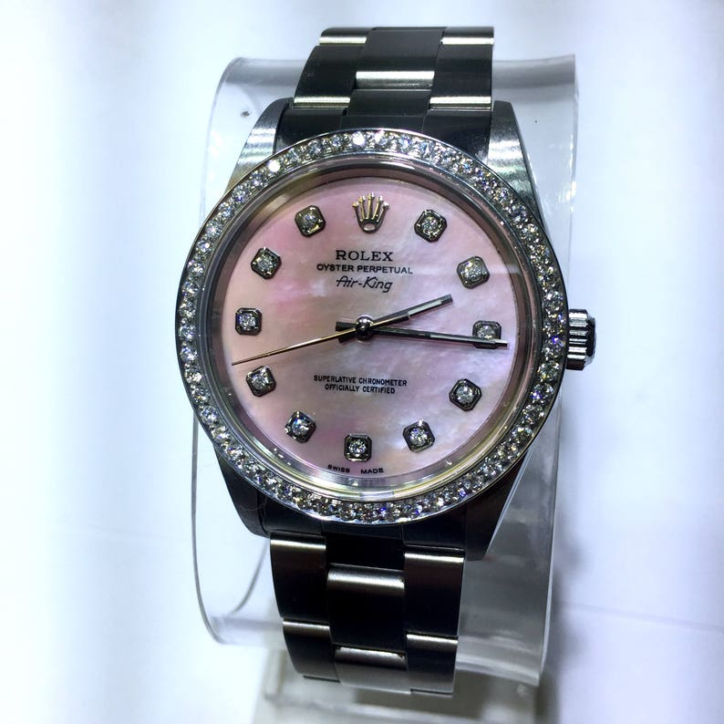 Rolex Oyster Perpetual Air King Steel Ladies Unisex Watch Pink Mother Of Pearl Dial Diamonds