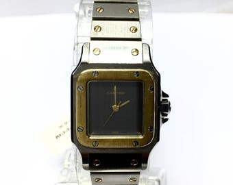 CARTIER SANTOS 2 Tone 18K Yellow Gold & Stainless Steel Automatic Ladies Watch.