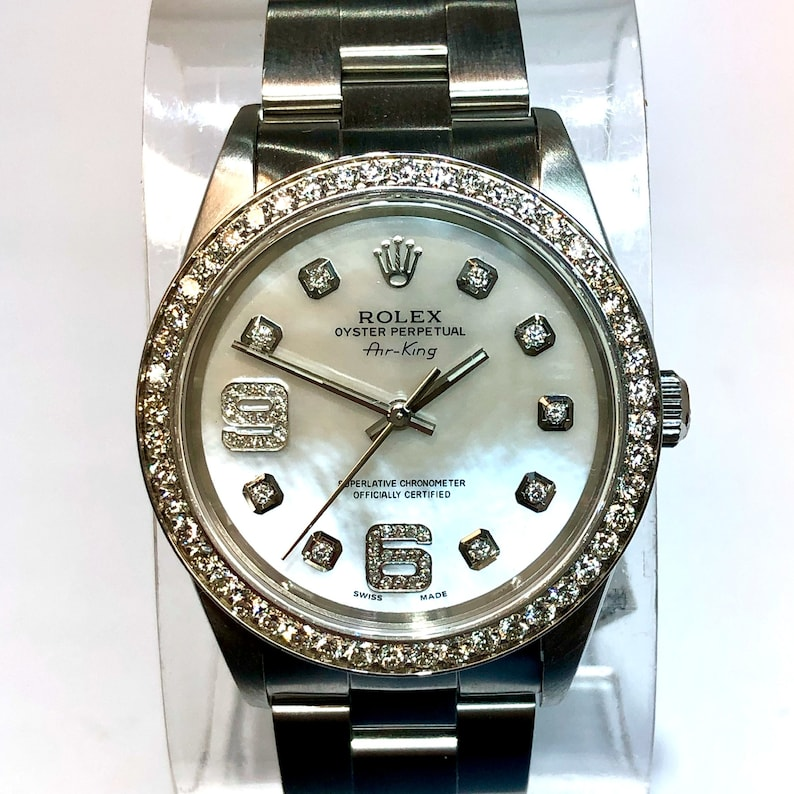 Rolex Oyster Perpetual Air King Steel Men S Unisex Watch White Mop Dial 1 4tcw Diamonds