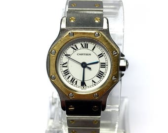 CARTIER OCTAGON Automatic 18K Gold & Stainless Steel Ladies Watch