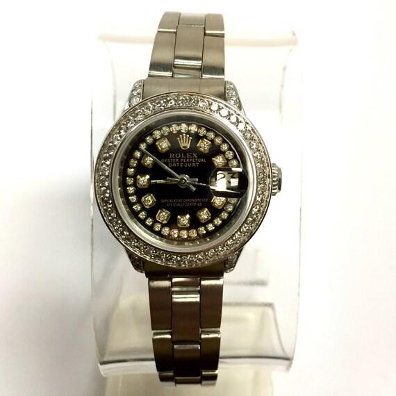 Rolex Oyster Perpetual Datejust Damen Uhr Diamant Lunette Und Etsy