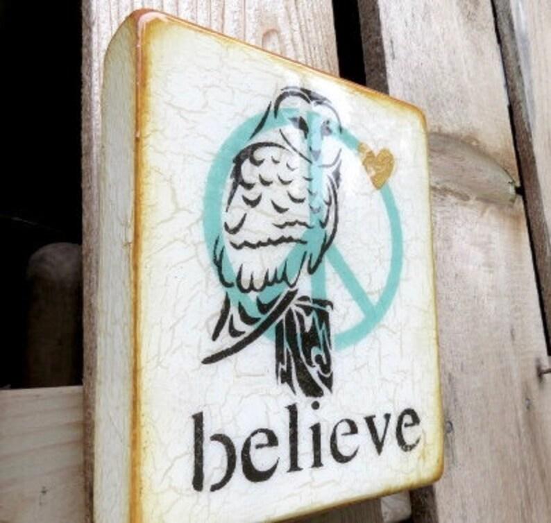 Vintage IVORY Spirit OwlBELIEVE-Wisdom image 0