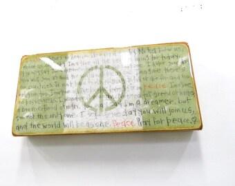 "Medium Soft Moss Green""New World Flag w/ ImagineLyrics""-Lennon'sAnthem,""IMAGINE"" ,highgloss resincoat onLightHollowWood Cradle."