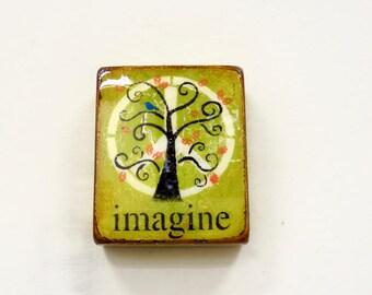 "DistressedGreen/Gold Tree of Life""-Imagine, BlueBird,Orange leaves, Greenery, Autumn trend trend,GlossyResinCoat,solid,LightSpruceBlock."