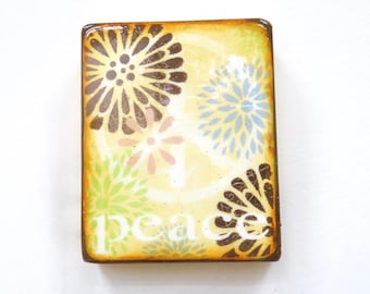 Soft Butter Yellow Pastel Floral Peace- Sanctuary,meditation,yoga gift, soft pink/blue/pink/brown HglossResinOverLight hollow spruce cradle.