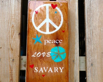 """Custom Order for Karle Palfrey - """"Peace, Love, Savary Island"""" - Natural Wood grain, Turquoise, Red, Seascape and Stars, Beach House, Cottage"""