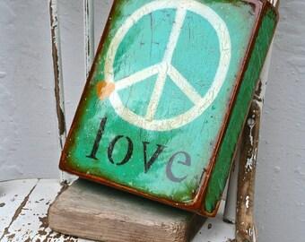 "Deep Peace Verdgris ""love""-M.Med.peace,turquoise,verdigris,gold heart,handpainted,love,high gloss resin coat on solid, light spruce block."