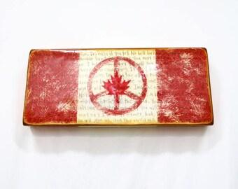 Canadian New World Flag (Large) - Red/White MapleLeaf,Imagine,PEACE-Symbol,Lennon's Anthem Peacekeeper Symbol on light hollow wooden cradle