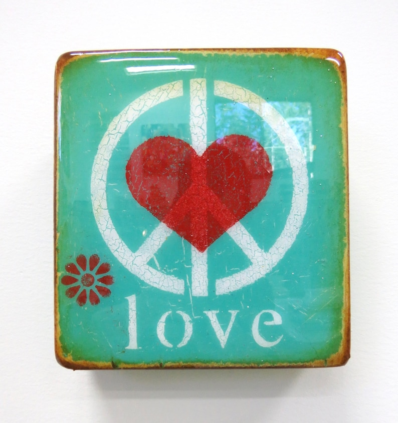 Wee Verdigris Peace Heart/love  Mixed Media image 0