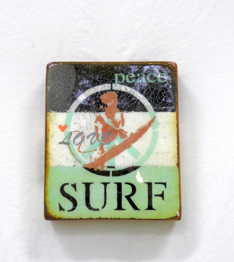 BlackCreamPale Turquoise  PeaceLoveSURF BEACHcopper image 0
