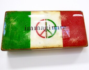 """ITALIAN PEACE FLAG-""""Immaginare"""" /BandieraDellaPace/Green and Red/Italy/Lennon/HGloss,ResinCoatedPeaceKeeperSymbolOnLight,Hollow,WoodCradle"""