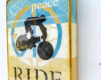 Vintage Bliue,Cream,Golden Ochre - PeaceLoveRIDE, Bicycle Rider, mountainbiker/racer, BikeCoachGift/resin coat on solid,light hollow cradle.