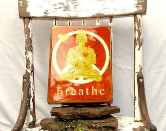Deep Orange Golden Buddha Breathe- PeacefulGoldHeartBuddha yoga gift,sanctuary space,meditators gift,highglossresincoat,light hollow cradle.