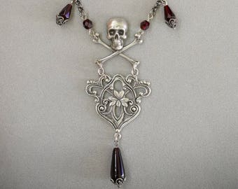 PIRATE treasure skull & crossbones NECKLACE, red Czech glass beads, COSPLAY