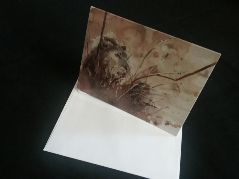 Original Art Print Greeting Card of Lion Blank Inside for All image 0