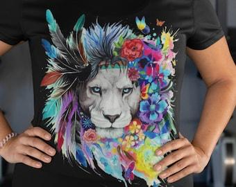 Crew Neck Artistic Lion Unisex Short Sleeve T-Shirt